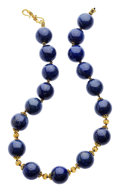 Estate Jewelry:Necklaces, Lapis Lazuli, Gold Necklace, Patricia Makena. ...