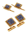 Estate Jewelry:Cufflinks, Gentleman's Sapphire, Gold Dress Set, French. ... (Total: 4 Pieces)