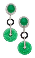 Estate Jewelry:Earrings, Jadeite Jade, Diamond, Black Onyx, Platinum, White Gold Earrings....