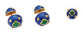 Estate Jewelry:Cufflinks, Enamel, Gold Cuff Links and Tie Tack Set, David Webb. ... (Total: 3 Items)