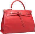 Luxury Accessories:Bags, Hermes 35cm Vermillion Swift Leather Kelly Flat Bag with Palladium Hardware. J Square, 2006. Very Good to Excellent Co...