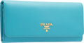 "Luxury Accessories:Accessories, Prada Turchese Blue Saffiano Leather Wallet. PristineCondition. 7.5"" Width x 4"" Height x 1"" Depth. ..."