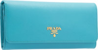 "Prada Turchese Blue Saffiano Leather Wallet Pristine Condition 7.5"" Width x 4"" Height x 1"" Depth<..."