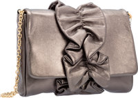 """Dolce & Gabbana Metallic Pewter Leather Ruffle Evening Bag Excellent Condition 8.5"""" Width x 6"""" He"""