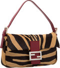 "Luxury Accessories:Bags, Fendi Miele & Moro Brown Zebra Ponyhair Baguette Bag.Excellent Condition. 10"" Width x 5.5"" Height x 2""Depth. ..."