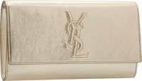 "Yves Saint Laurent Metallic Silver Leather Belle du Jour Clutch Bag Condition: 2 11"" Width x 6.5"""