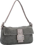 "Luxury Accessories:Bags, Fendi Metallic Silver Ricami Embroidered Sequin Baguette Bag.Excellent to Pristine Condition. 10"" Width x 5"" Heightx..."
