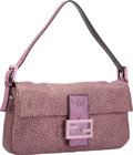 """Luxury Accessories:Bags, Fendi Metallic Rosa Pink & Moro Brown Leather & CanvasBaguette Bag. Excellent to Pristine Condition. 10"""" Widthx 6"""" H..."""