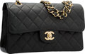 "Luxury Accessories:Bags, Chanel Black Quilted Caviar Leather Small Double Flap Bag with GoldHardware. Excellent Condition. 9.5"" Width x 5.5"" H..."