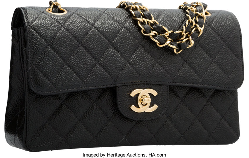 2933b3180c6f Chanel Black Quilted Caviar Leather Small Double Flap Bag with