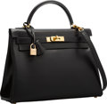 Luxury Accessories:Bags, Hermes 32cm Black Calf Box Leather Retourne Kelly Bag with GoldHardware. E Square, 2001. Very Good to ExcellentCondition...
