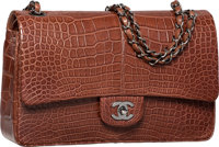 Chanel Matte Brown Crocodile Medium Double Flap Bag with Silver Hardware Excellent to Pristine Condition