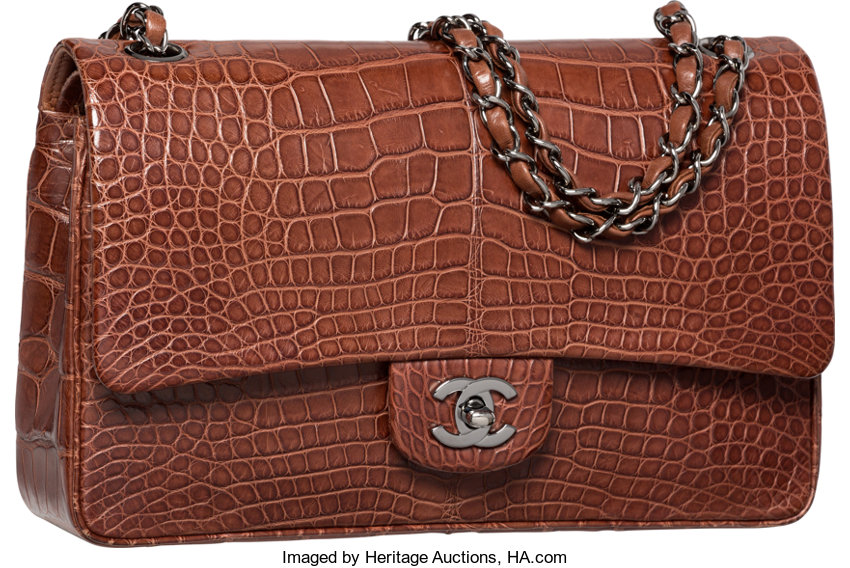 Luxury Accessories Bags Chanel Matte Brown Crocodile Medium Double Flap Bag With Silverhardware