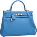 Luxury Accessories:Bags, Hermes Limited Edition 35cm Blue Paradis Clemence & SwiftLeather Ghillies Kelly Bag with Palladium Hardware. T, 2015.Pri...