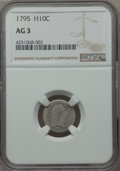 Early Half Dimes: , 1795 H10C AG3 NGC. NGC Census: (0/317). PCGS Population (8/581).Mintage: 78,600. Numismedia Wsl. Price for problem free NG...