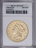 Liberty Double Eagles: , 1858-S $20 MS60 Cleaned, Uncertified. Bright and flashy, but thereare wispy hairlines from a past cleaning present on both...