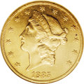 Liberty Double Eagles: , 1885-CC $20 AU58 NGC. The fields are somewhat prooflike on this lustrous coin, which has beautiful honey-gold centers and a...