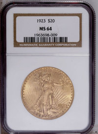 1923 $20 MS64 NGC. A carefully preserved apricot-gold representative without distracting marks. Luster sweeps unencumber...