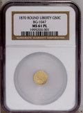 California Fractional Gold: , 1870 50C Goofy Head Round 50 Cents, BG-1047, High R.4, MS61Prooflike NGC. A bright yellow-gold piece that possesses flashy...