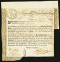 Colonial Notes:Massachusetts, Massachusetts Treasury Loan Certificate £15 June 1, 1780 MA-8 VeryFine.. ...