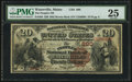 National Bank Notes:Maine, Waterville, ME - $20 1882 Brown Back Fr. 494 The Peoples NB Ch. #880. ...
