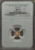 California Fractional Gold , 1871 25C Liberty Round 25 Cents, BG-812, Low R.5, MS61 NGC. NGCCensus: (1/8). PCGS Population (1/37). ...