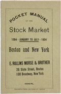 Books:Americana & American History, Frank A. Ruggles. Pocket Manual of the Stock Market 1904 -January to July - 1904; Boston and New York. New York: 19...