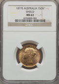 "Australia, Australia: Victoria gold ""Shield"" Sovereign 1877-S MS63 NGC,..."