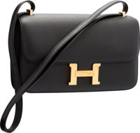 """Hermes Black Epsom Leather Constance Elan Bag with Gold Hardware R Square, 2014 Pristine Condition 10"""" Wi"""