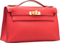 """Luxury Accessories:Bags, Hermes Vermillion Swift Leather Kelly Pochette Bag with Gold Hardware. 2016. Pristine Condition. 8.5"""" Width x 5"""" Height x ..."""