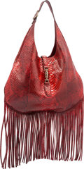 "Luxury Accessories:Bags, Gucci Glazed Red Python Nouveau Fringe Jackie Hobo Bag. PristineCondition. 16"" Width x 11"" Height x 3"" Depth. ..."