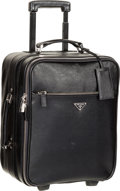 """Luxury Accessories:Travel/Trunks, Prada Nero Black Saffiano Leather Trolley Suitcase. Very Good toExcellent Condition. 13.5"""" Width x 16"""" Height x 8"""" Depth..."""