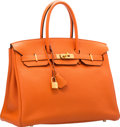 "Luxury Accessories:Bags, Hermes 35cm Orange H Togo Leather Birkin Bag with Gold Hardware.N Square, 2010. Very Good Condition. 14"" Width x..."