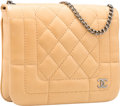 "Luxury Accessories:Bags, Chanel Beige Quilted Lambskin Leather Shoulder Bag with SilverHardware. Good to Very Good Condition. 7.5"" Width x 6""..."