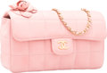"Luxury Accessories:Bags, Chanel Pink Square Quilted Lambskin Leather Camellia Single FlapBag with Gold Hardware. Very Good Condition. 7""Width..."