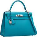 Luxury Accessories:Bags, Hermes 28cm Turquoise Chevre Coromandel Leather Sellier Kelly Bagwith Palladium Hardware. I Square, 2005. Very Goodt...