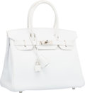 "Luxury Accessories:Bags, Hermes 30cm White Epsom Leather Birkin Bag with Palladium Hardware.F Square, 2002. Excellent Condition. 12""Width..."
