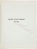 Books:Art & Architecture, [Frank Lloyd Wright.] Grant Carpenter Manson. Frank Lloyd Wrightto 1910... New York: Reinhold, 1958. First edition....