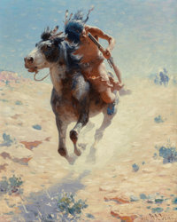 William Robinson Leigh (American, 1866-1955) Indian Rider, 1918 Oil on canvas 20 x 16 inches (50