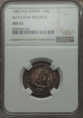 Netherlands East Indies, Netherlands East Indies: Batavian Republic. Holland 1/4 Gulden 1802MS62 NGC,...