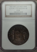 Azores, Azores: Portuguese Administration Counterstamped 600 Reis ND (1887) F12 NGC,...