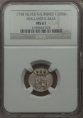 Netherlands East Indies, Netherlands East Indies: Holland silver 1/2 Duit 1758 MS61 NGC,...