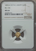 California Fractional Gold , 1855/4 25C Liberty Octagonal 25 Cents, BG-106, R.3, MS64 NGC. NGCCensus: (18/15). PCGS Population (37/13). ...
