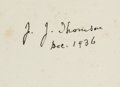 Books:Science & Technology, J. J. Thomson. Recollections and Reflections. London: 1936.First Edition. Signed....