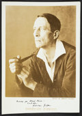Autographs:Authors, Robinson Jeffers. Vintage Sepia Photographic Portrait Inscribed in black ink. Photograph by Edward Weston. 5 by 7 inches. Ci...
