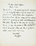 Autographs:Authors, Una Jeffers. Autograph Letter Signed, in black ink, Tor House,Carmel, Ca, March 11, 1942. To poet and anthologist Oscar Wil...