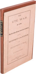 Books:Americana & American History, Thomas Sturgis. The Ute War of 1879. Why the IndianBureau should be transferred from the Department of theInteri...