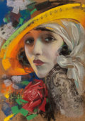 Mainstream Illustration, Rolf Armstrong (American, 1889-1960). Bebe Daniels, PhotoplayMagazine cover, August 1921. Pastel on board. 15 x 10.5 in...