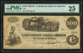 "Confederate Notes:1862 Issues, Manuscript Endorsement ""Thos. Lanigan Maj & CS"" T40 $100 1862PF-1 Cr. 298.. ..."