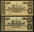 Confederate Notes:1864 Issues, T67 $20 1864 (2) PF-4; PF-22 Cr. 506; Cr. 522.. ... (Total: 2 notes)